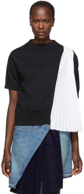 Sacai Black and White Knit Shirting Sweater