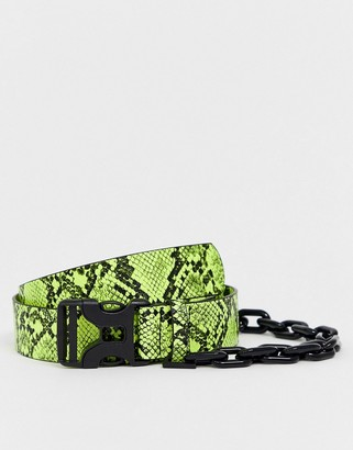 ASOS DESIGN slim belt in neon green faux leather with snakeskin print and chain detail
