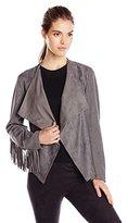 Karen Kane Women's Faux Suede Fringe Sleeve Jacket