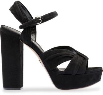 Prada Chunky Heel Platform Sandals