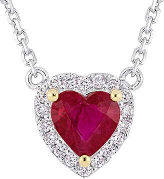 Rina Limor Fine Jewelry 14K 0.62 Ct. Tw. Diamond & Ruby Halo Necklace