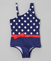 Jantzen Navy & Red Sail Away Polka Dot One-Piece - Girls