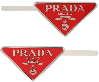 Prada Set of 2 logo hair clips