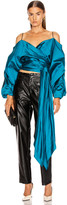 Rasario Voluminous Sleeve Top in Dark Turquoise | FWRD