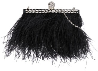 Jimmy Choo Celeste feather-trimmed clutch