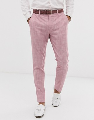 ASOS DESIGN wedding skinny suit trousers in rose pink cross hatch