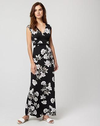 Le Château Floral Print Knit V-Neck Maxi Dress