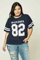 Forever 21 FOREVER 21+ Plus Size Weekends Varsity Tee