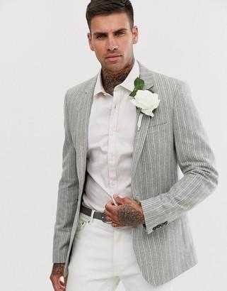 ASOS DESIGN wedding skinny blazer in green wool mix with stripe