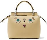 Fendi Dotcom Petite Embellished Leather Shoulder Bag - Pastel yellow