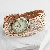 Braided Ivory Leather Wrap Watch