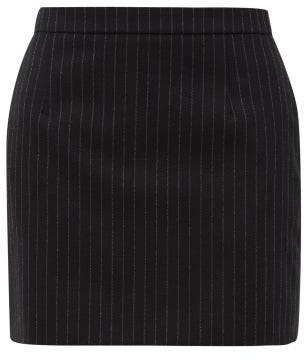 Saint Laurent Pinstriped Wool-twill Mini Skirt - Black White