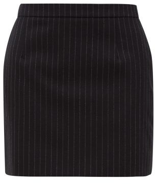 Saint Laurent Pinstriped Wool-twill Mini Skirt - Womens - Black White