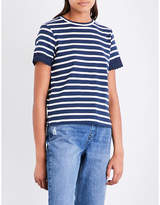 Whistles Broderie anglaise-trimmed striped cotton-jersey T-shirt