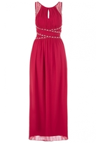 Quiz Curve Berry Chiffon Embellished Keyhole Maxi Dress