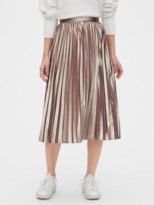 Gap Metallic Pleated Midi Skirt