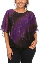 Purple & Black Sequin Poncho Top - Plus