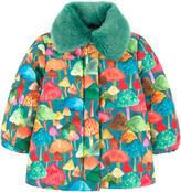 Oilily Printed coat with a false fur collar