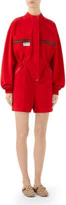 Gucci Long-Sleeve Cotton Panama Romper
