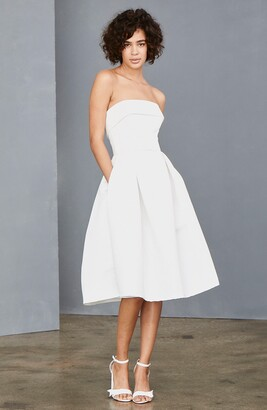 Amsale Strapless Faille A-Line Dress