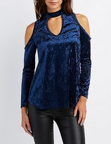 Charlotte Russe Velvet Keyhole Cold Shoulder Top