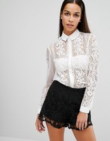 Lipsy Sheer Lace Shirt