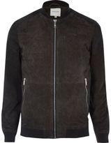 River Island MensGrey Jack & Jones Premium suede jacket