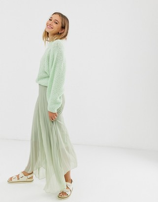 Asos DESIGN recycled polyester pleated wrap maxi skirt