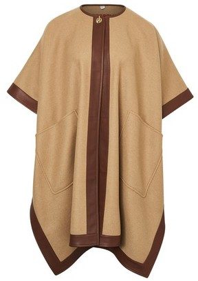 Burberry Lambskin Trim Double-faced Cashmere Cape