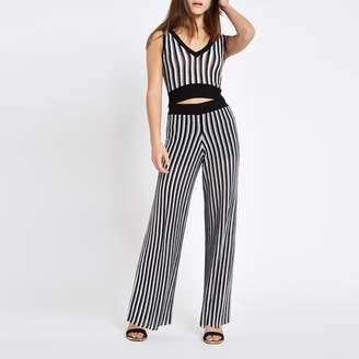 River Island Womens Petite Black stripe metallic knit trousers