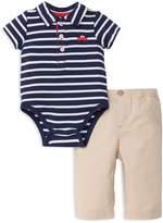 Little Me Boys' Striped Polo Bodysuit & Pants Set