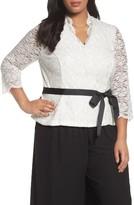 Alex Evenings Plus Size Women's Glitter Detail Lace V-Neck Blouse