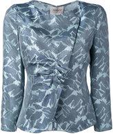 Armani Collezioni ruched embroidered blazer - women - Mulberry Silk - 48