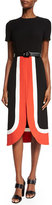 Michael Kors Short-Sleeve Colorblock Midi Dress, Coral