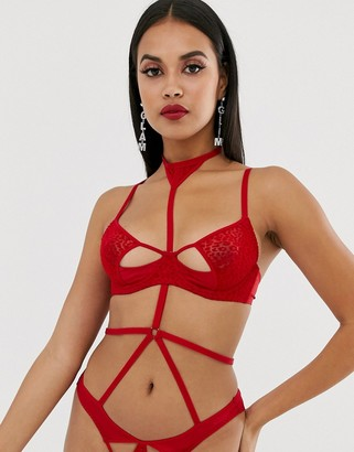 Coco de Mer X Playboy Velvet Leopard cut-out bra in red