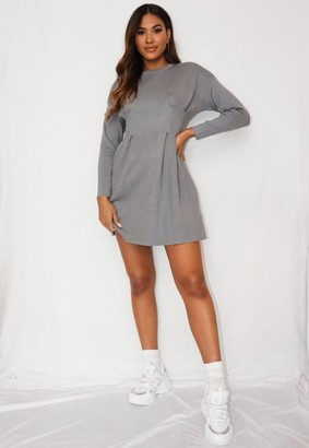 Missguided Gray Ruched Waist Knit Dress