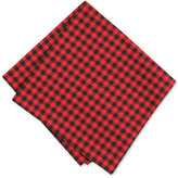 Bar III Men's Black Red Gingham Pocket Square, Created for Macy's