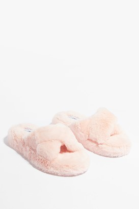 Nasty Gal Womens Cross the Line Faux Fur Platform Slippers - Pink