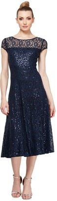 SL Fashions Women's Sequin Lace Fit and Flare Dress