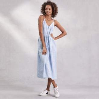 The White Company Linen Strappy Midi Sundress, Blue, Large