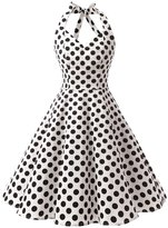 Dressystar Vintage 1950's Polka Dot Swing Party Picnic Dress Prom Cocktail Dress White black XS