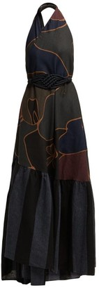 Binetti Love Halterneck Cotton Maxi Dress - Womens - Black Multi