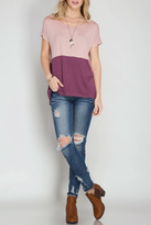 She + Sky Color Block Top