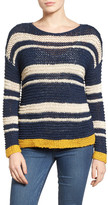 Caslon Stripe Open Stitch Sweater (Petite)