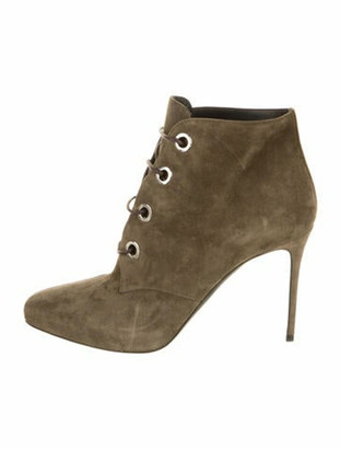 Belstaff Suede Lace-Up Boots Green