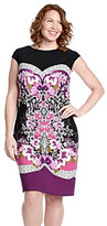 London Times Plus Size Mirror Print Shift Dress