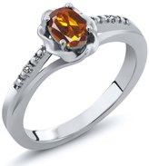 Gem Stone King 0.41 Ct Oval Orange Red Madeira Citrine White Diamond 14K White Gold Ring