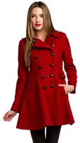 Via Spiga Red Double-breasted Wool Coat.