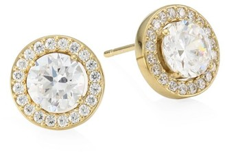 Adriana Orsini 18K Goldplated Sterling Silver & Framed Round Cubic Zirconia Stud Earrings