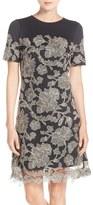 Tadashi Shoji Embroidered Lace Overlay A-Line Dress (Regular & Petite)